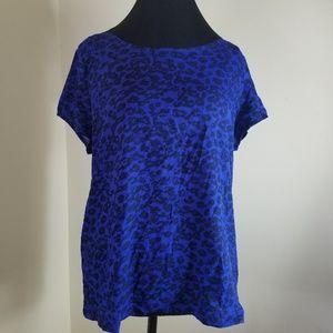 Gap Blue Leopard Pattern Front Short Sleeve Shirt